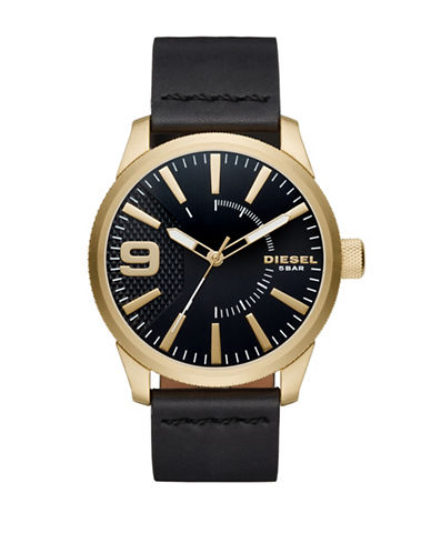 Diesel Analog RASP NSBB Goldtone Leather Strap Watch-BLACK-One Size