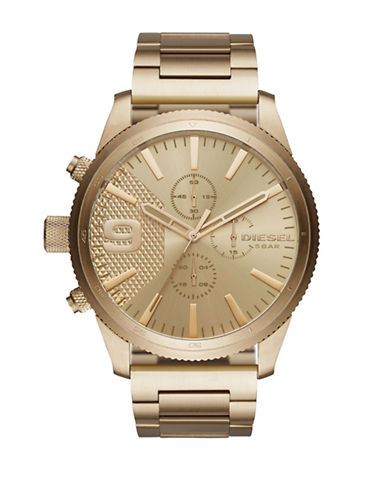 Diesel Rasp Goldtone Chronograph Bracelet Watch-GOLD-One Size