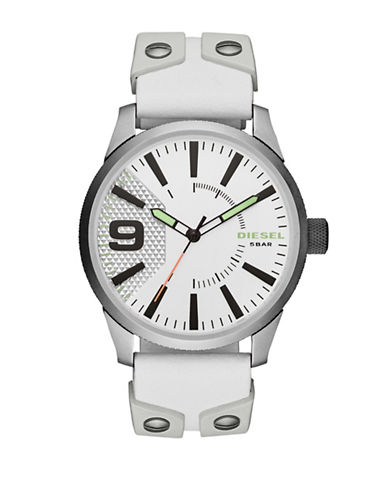 Diesel Rasp Quartz Leather Strap Watch-WHITE-One Size