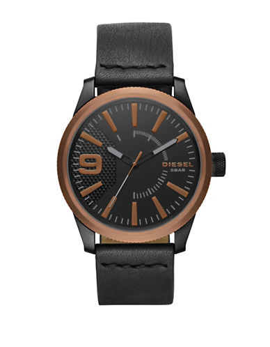 Diesel Analog Rose-Goldtone Leather Strap Watch-BLACK-One Size