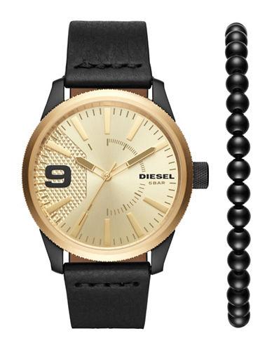 Diesel Rasp Goldtone Watch and Bracelet Two-Piece Set-BLACK-One Size