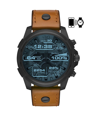 Diesel Touchscreen Smartwatch Full Guard Stainless Steel Leather Strap Watch-BROWN-One Size
