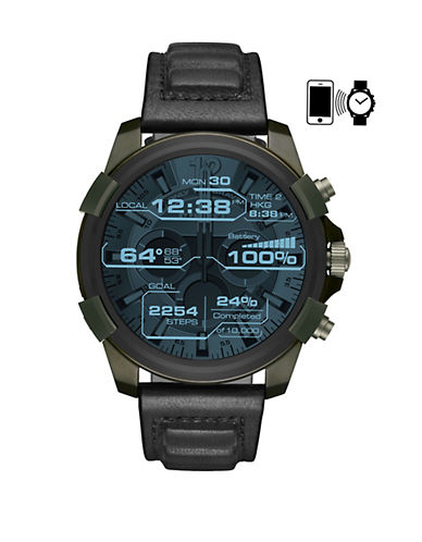 Diesel Full Guard On Touchscreen Olive IP and Black Leather Smartwatch-BLACK-One Size
