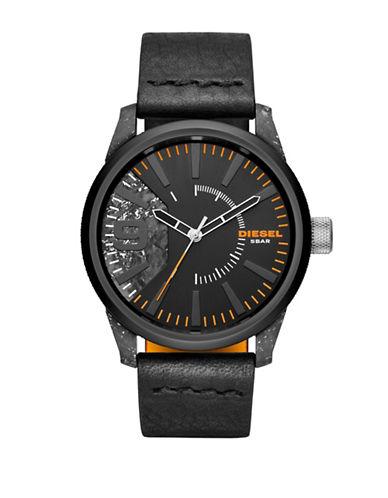 Diesel Rasp Three-Handed Leather Watch-BLACK-One Size