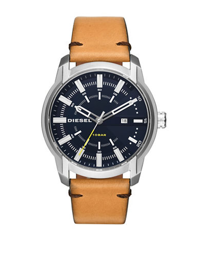 Diesel Armbar Leather Strap Watch-TAN-One Size