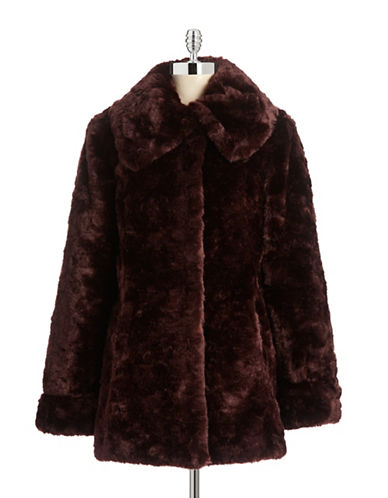 1 Madison Faux Crushed Rabbit Fur Walker Coat-BURGUNDY-X-Small  AT vintagedancer.com