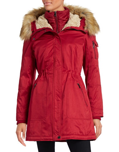 1 Madison The Coat Edit Twill Parka with Faux Sherpa Bib-RED-Large