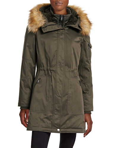 1 Madison The Coat Edit Twill Parka with Faux Sherpa Bib-OLIVE-X-Large