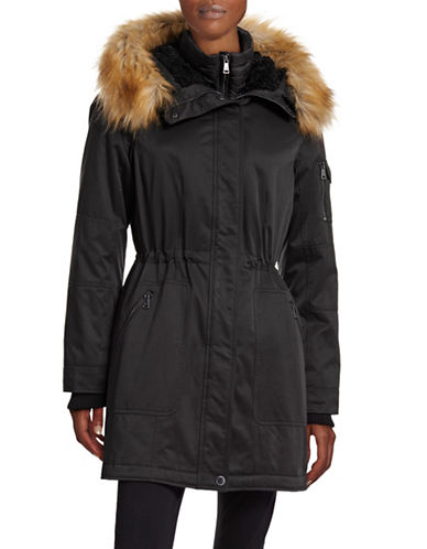 1 Madison The Coat Edit Twill Parka with Faux Sherpa Bib-BLACK-Medium