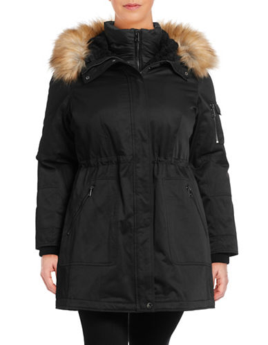 1 Madison The Coat Edit Plus Twill Parka with Faux Sherpa Bib-BLACK-0X