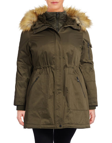 1 Madison The Coat Edit Plus Twill Parka with Faux Sherpa Bib-GREEN-0X