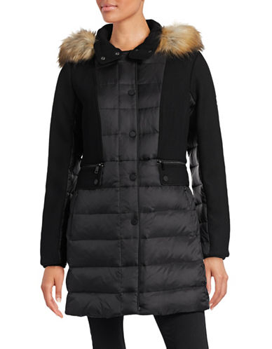 Image of 1 Madison Mixed Media Down Walker Coat-BLACK-Medium