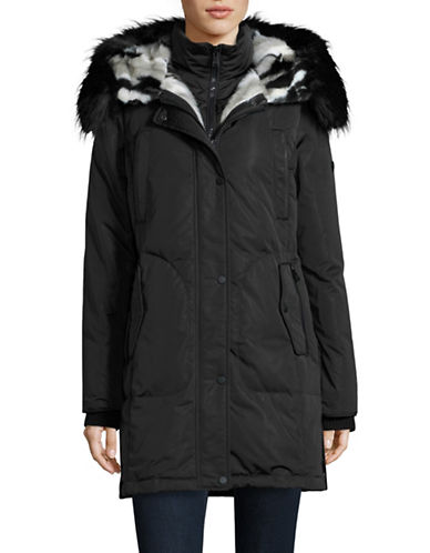 Image of 1 Madison Faux Fur Hood and Gilet Parka-BLACK-X-Small