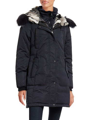 Image of 1 Madison Faux Fur Hood and Gilet Parka-BLUE-Large