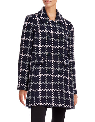 Kate Spade New York Plaid Double-Breasted Jacket-BLUE-X-Large 88431893_BLUE_X-Large