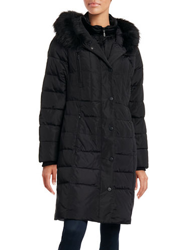 Image of 1 Madison Quilted Down Walker Coat with Faux Fur Trim-BLACK-X-Small