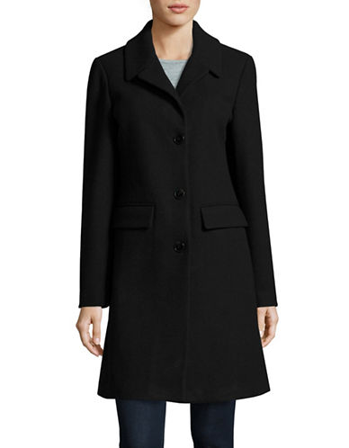 1 Madison The Coat Edit Wool-Blend Reefer Coat-BLACK-Small 88451953_BLACK_Small