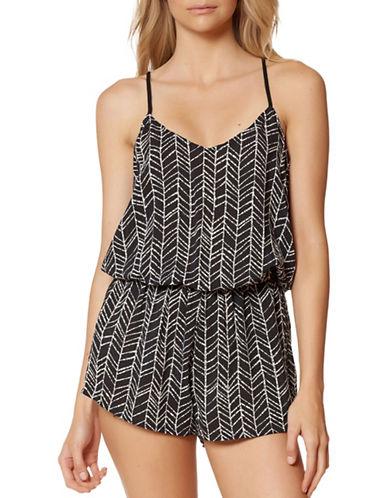 Dolce Vita Beaded Printed Romper-BLACK-Medium