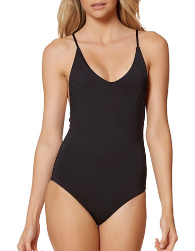 Dolce Vita Cross-Back One-Piece Swimsuit-BLACK-Small