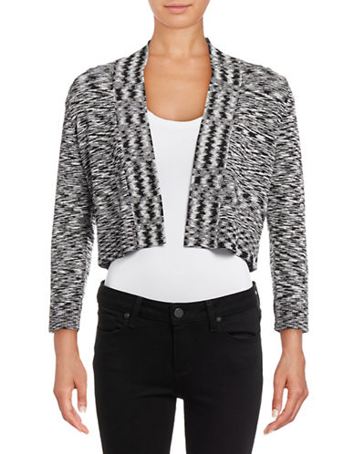 Calvin Klein Marled Long Sleeve Shrug-BLACK/CREAM-X-Large
