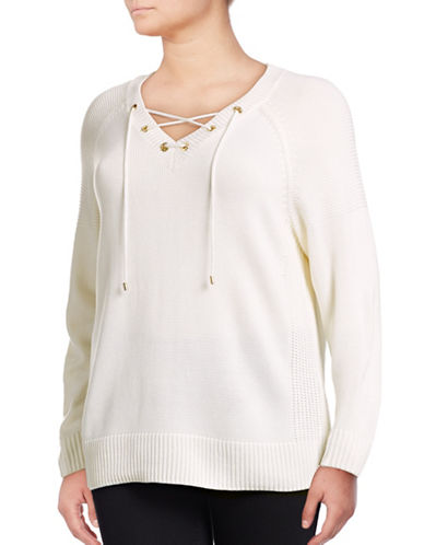 Calvin Klein Plus Lace-Up Sweater-WHITE-1X