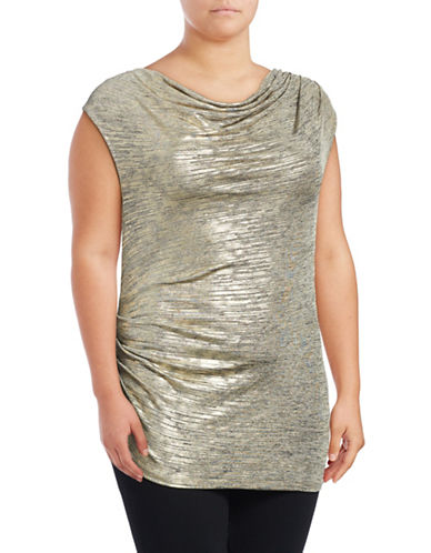 Calvin Klein Plus Metallic Gathered Top-GOLD-1X