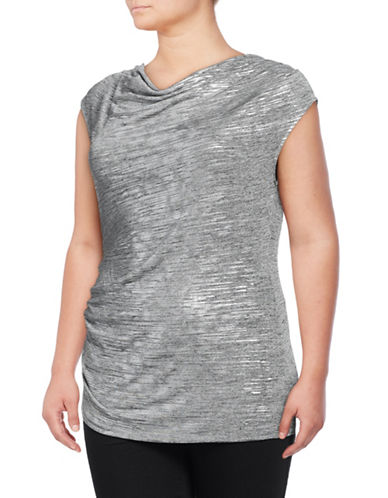 Calvin Klein Plus Metallic Gathered Top-GREY-3X