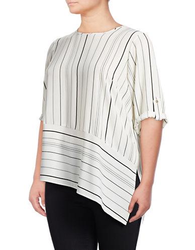 Calvin Klein Plus Striped Blouse-WHITE-1X 88778338_WHITE_1X