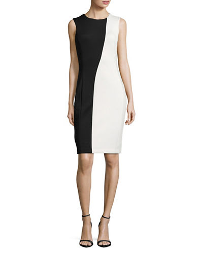 Calvin Klein Two-Tone Sheath Dress-BLACK/WHITE-10