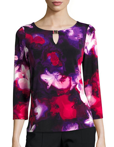 Calvin Klein Printed Three-Quarter Sleeve Top-BLACK-Medium 88778811_BLACK_Medium