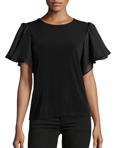 Calvin Klein Flutter Sleeve Tee-BLACK-X-Small 88778814_BLACK_X-Small