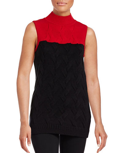 Calvin Klein Mock Neck Knitted Tank-RED-Medium