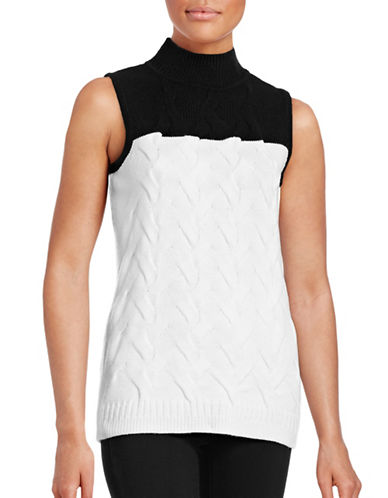 Calvin Klein Mock Neck Knitted Tank-BLACK-Large 88778797_BLACK_Large