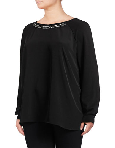 Calvin Klein Plus Embellished Woven-Combo Tunic-BLACK-1X