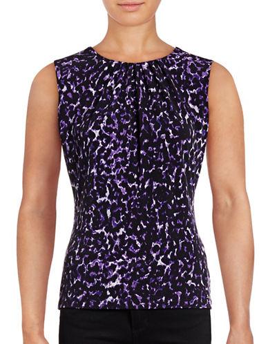 Calvin Klein Pleat Neck Leopard Print Sleeveless Top-NIGHT/MULTI-X-Large 88800241_NIGHT/MULTI_X-Large