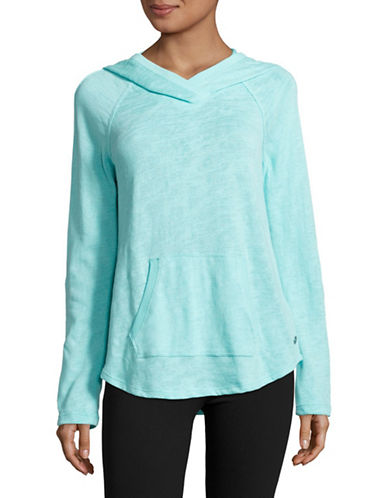 Calvin Klein Performance Slub Knit Roll-Sleeve Hoodie-BLUE RADIANCE-X-Large 88987961_BLUE RADIANCE_X-Large