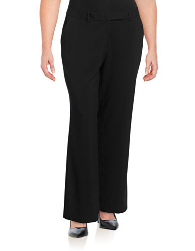Calvin Klein Plus Madison Straight-Leg Dress Pants-BLACK-16W