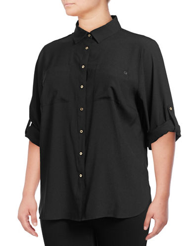 Calvin Klein Plus Long Hi-Lo Blouse-BLACK-2X