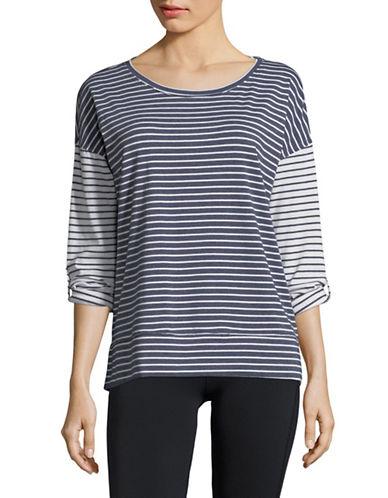 Calvin Klein Performance Striped Dolman Stretch T-Shirt-BLUE/WHITE-Large 89983932_BLUE/WHITE_Large
