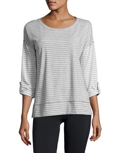 Calvin Klein Performance Striped Dolman Stretch T-Shirt-GREY/WHITE-Small 89983930_GREY/WHITE_Small