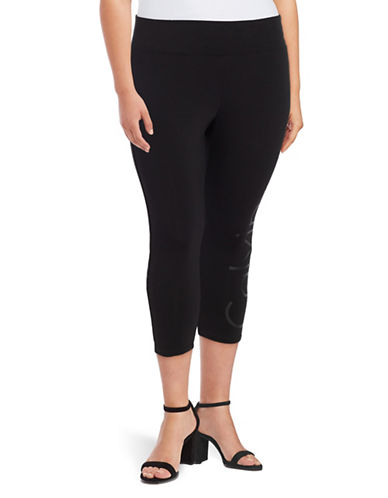 Calvin Klein Performance Plus Cropped Logo Capri Leggings-BLACK-1X 88997776_BLACK_1X