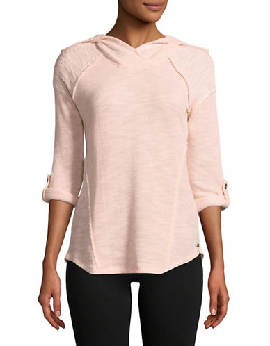 Calvin Klein Performance Marled Cowl Neck Pullover with Foldover Hem-PINK-Medium 89736217_PINK_Medium