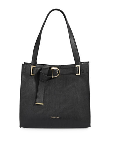 Calvin Klein Belted Metallic Tote-BLACK-One Size