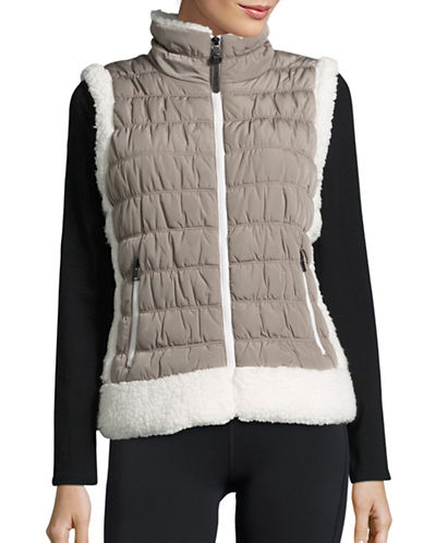 Calvin Klein Performance Quilted Faux Fur Trim Vest-WHITE/BEIGE-X-Large 88695130_WHITE/BEIGE_X-Large