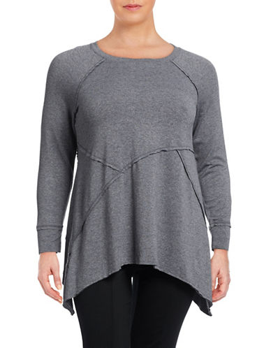 Calvin Klein Performance Plus Cut and Sew Active  Top-BLACK HEATHER-3X 88767003_BLACK HEATHER_3X