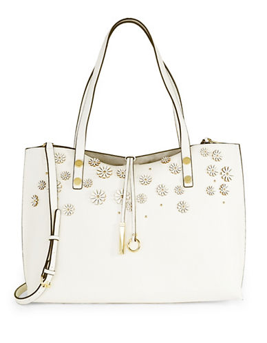Calvin Klein Reversible Patchwork Tote with Pouch-WHITE-One Size