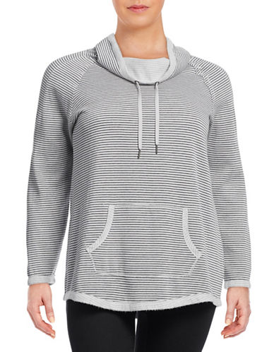 Calvin Klein Performance Plus Striped Funnel Neck Sweatshirt-GREY-1X 88766998_GREY_1X