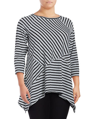 Calvin Klein Performance Plus Striped Three-Quarter Sleeve T-Shirt-BLACK-2X 88997774_BLACK_2X