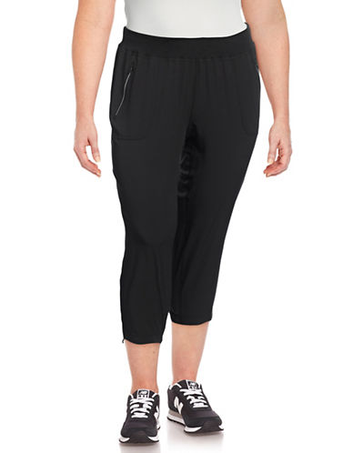 Calvin Klein Performance Plus Drawstring Capri Pants-BLACK-1X 88997767_BLACK_1X