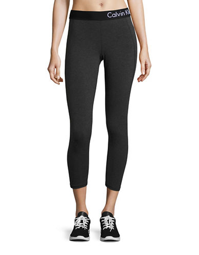 Calvin Klein Performance Quick-Dry Marled Logo Leggings-SLATE HEATHER-Large 88732315_SLATE HEATHER_Large